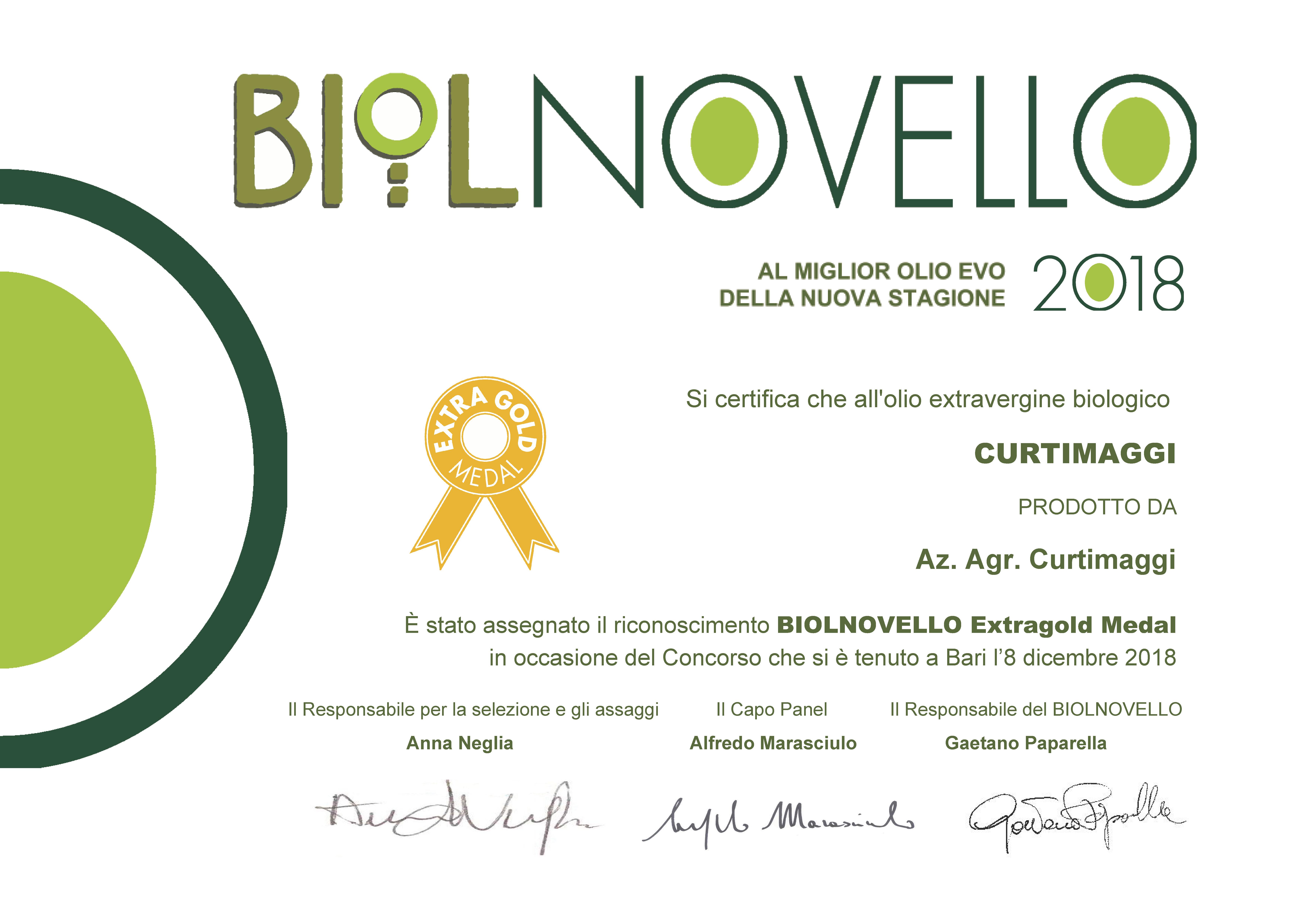 Attestato Biolnovello Az. Agr Curtimaggi Extragold